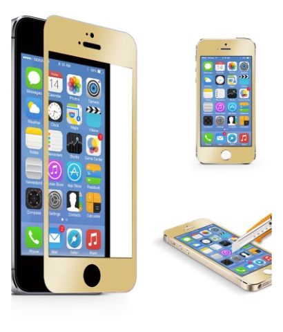 Crystal Tempered Glass Screen Protector (Front & Back Screen) For iPhone 5 / 5S - Champagne Gold