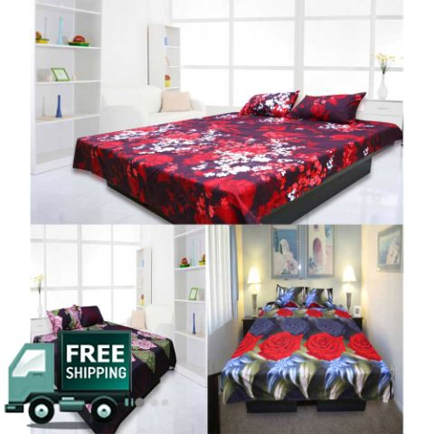 eSmartDeals Bed Sheet With Pillow Cover Combo Set Of 3