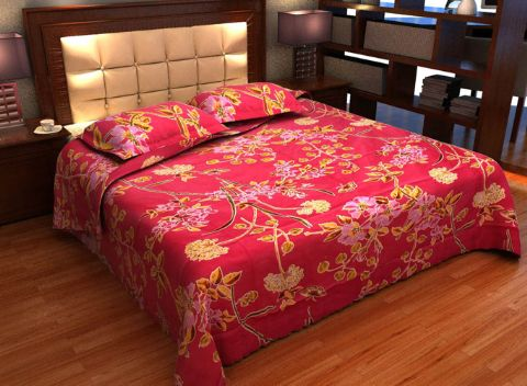 DNF Floral Print Cotton Double Bedsheet