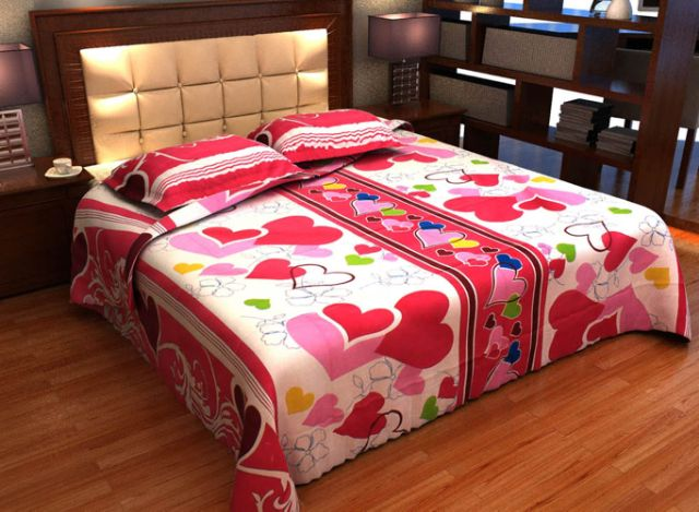 DNF Printed Cotton Double Bedsheet With 2 Pillow Covers