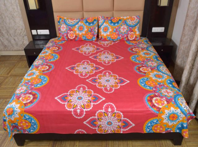 DNF Printed Double Bed Sheet With 2 Pillow Covers
