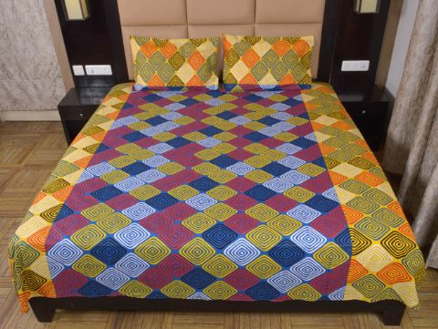 DNF Geometric Print Double Bed Sheet With 2 Pillow Covers