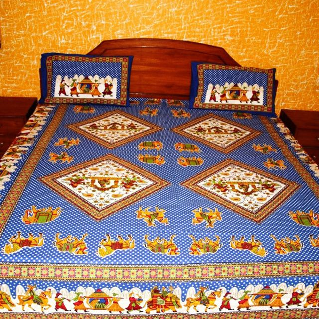 DNF Multicolor Printed Jaipuri Cotton Double Bed Sheet