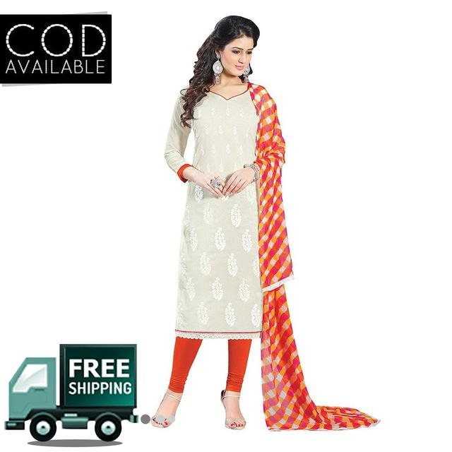 Ps Enterprise White Chanderi Unstitched Dress Material