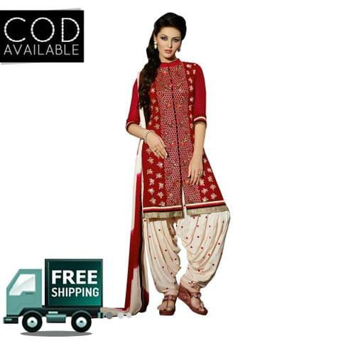 Ps Enterprise Red Georgette Unstitched Dress Material