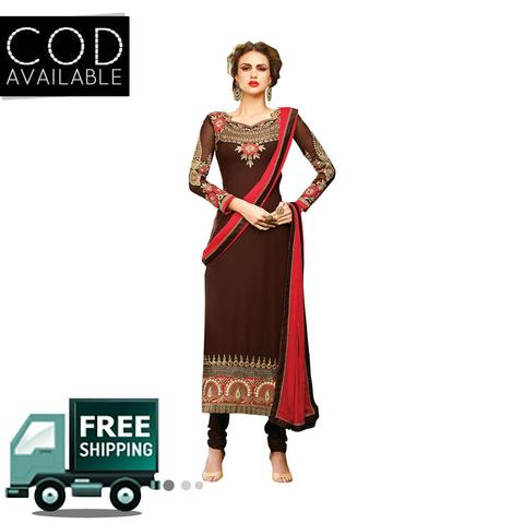 Ps Enterprise Brown Georgette Semi-Stitched Dress Material