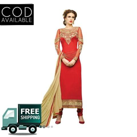 Ps Enterprise Red Georgette Semi-Stitched Dress Material