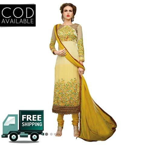 Ps Enterprise Yellow Georgette Semi-Stitched Dress Material