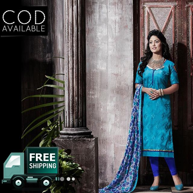 Ps Enterprise Blue Chanderi Unstitched Dress Material