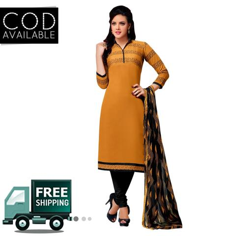 Ps Enterprise Yellow Chanderi Cotton Unstitched Dress Material