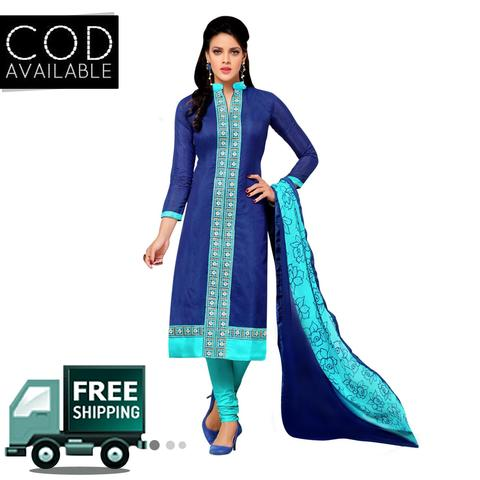 Ps Enterprise Blue Chanderi Cotton Unstitched Dress Material