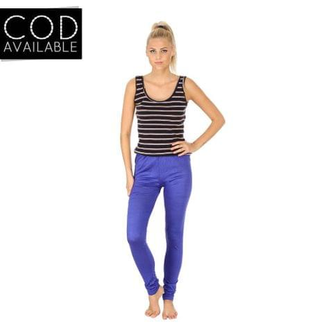 SLS Blue Cotton Lycra Slim Fit Women's Leggings