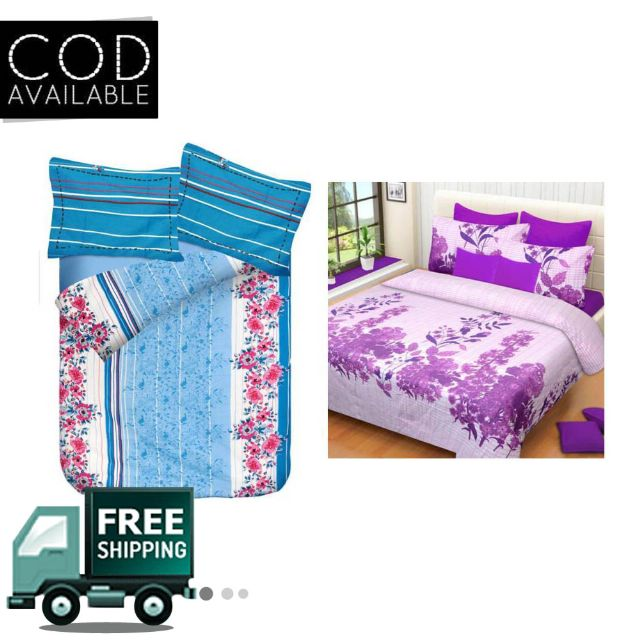 Zain 2 Pure Cotton Double Bedsheet With 4 Pillow Cover