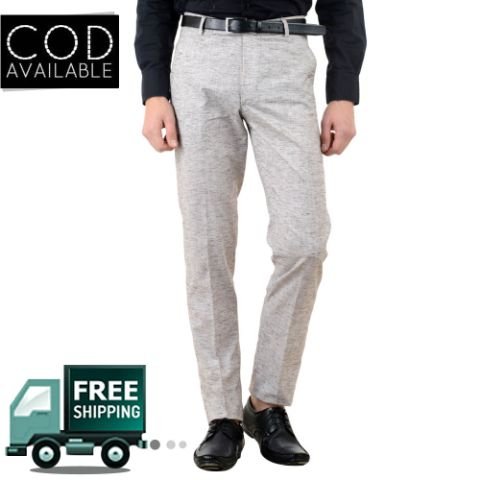 American-Elm Men's Cotton Stretchable Formal Trouser