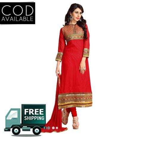 Sancom Red Color Straight Cut Salwar Kameez