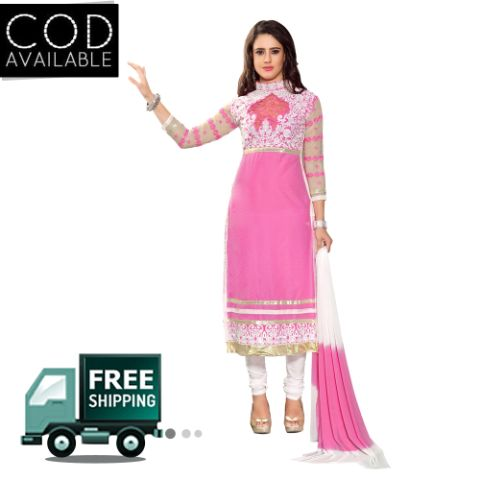 Sancom Pink Color Straight Cut Salwar Kameez