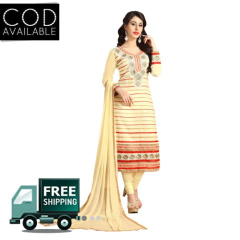 Sancom Cream Color Straight Cut Salwar Kameez