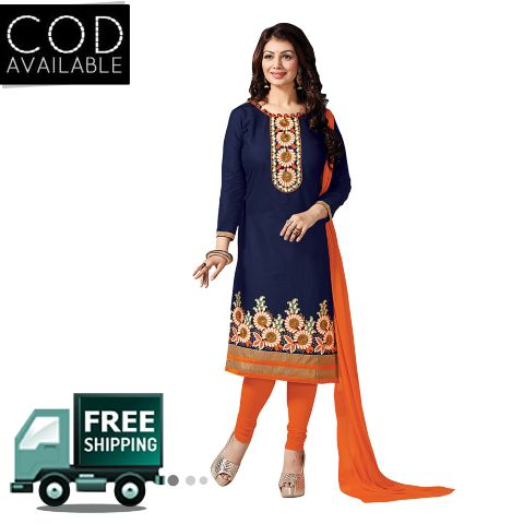 Sancom Blue Bhagalpuri Dress Material Salwar Kameez