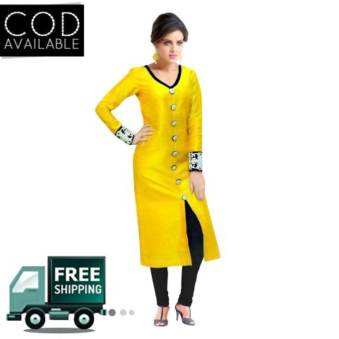 Sancom Yellow Bhagalpuri Silk Straight Cut Salwar Kameez