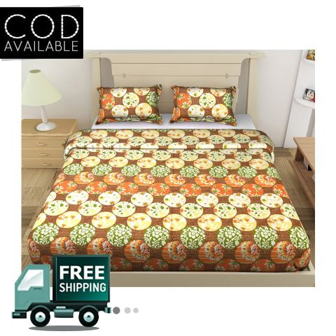 DNF Circle Print Double Bedsheet With 2 Pillow Covers