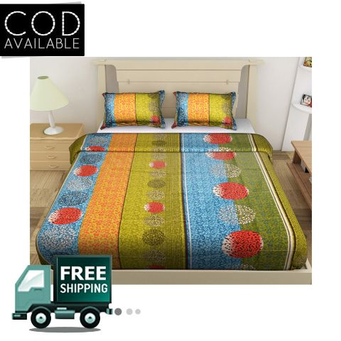DNF Printed Double Bedsheet With 2 Pillow Covers