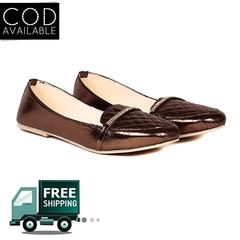 Ten Women's Copper Synthetic Leather Loafers