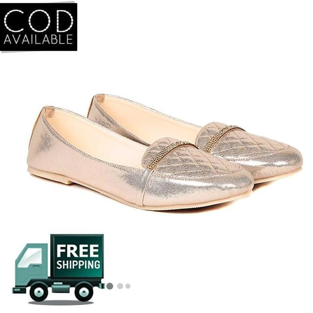 Ten Women's Gold Synthetic Leather Loafers