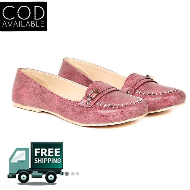 Ten Women's Peach Synthetic Leather Loafers