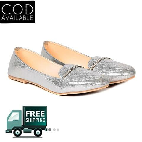 Ten Women's Silver Synthetic Leather Loafers