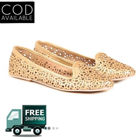 Ten Women's Golden Synthetic Leather Moccasin