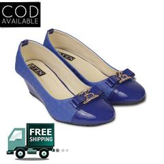 Ten Women's Blue Artificial Leather Wedges