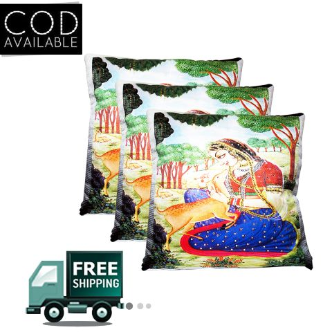 Rotomax Set of 3 Pcs Velvet Cushion Cover of 16 x 16 Inches