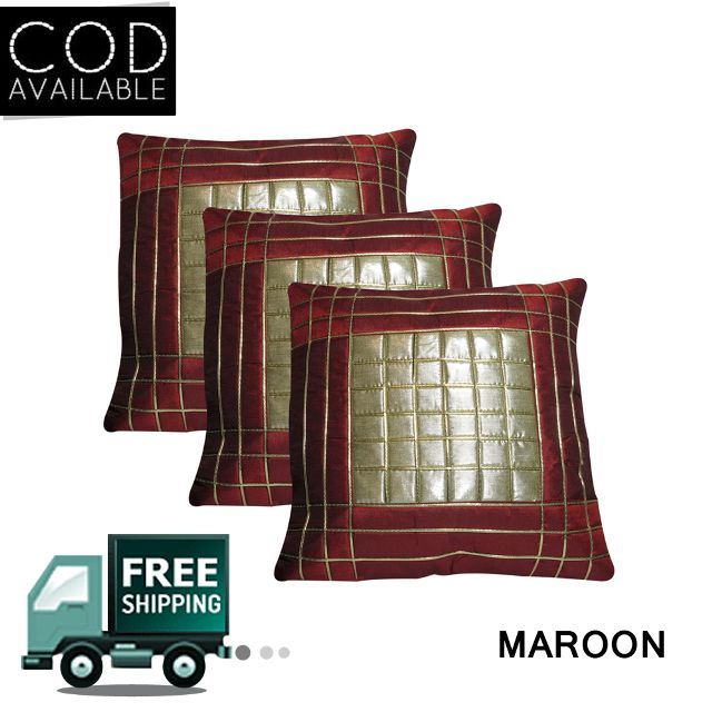 Rotomax Set of 3 Pcs Shimmer Cushion Cover of 16 x 16 Inches