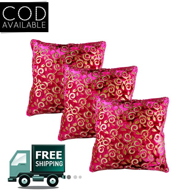 Rotomax Set of 3 Pcs Velvet Pink Cushion Cover of 16 x 16 Inches