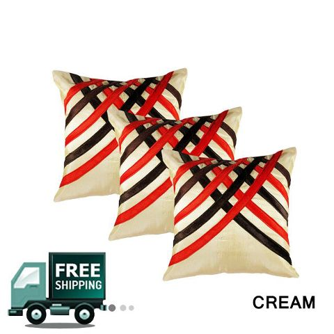 Rotomax Set of 3 Pcs Silk Cushion Cover of 16 x 16 Inches