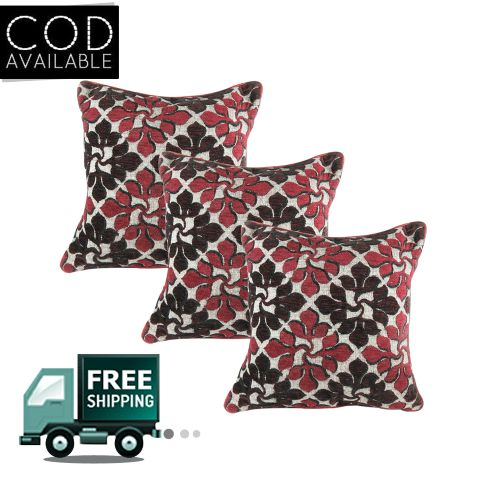 Rotomax Set of 3 Pcs Shaneel Cushion Cover of 16 x 16 Inches