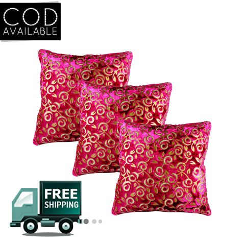 Rotomax Set of 3 Pcs Velvet Cushion Cover of 12 x 12 Inches