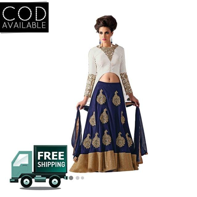 Sellective Navy Blue-White Color Silky Velvet Net Lehenga