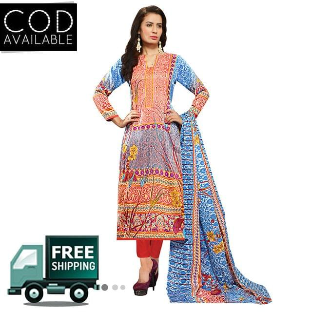 Sancom Multicolor Cotton Dress Material