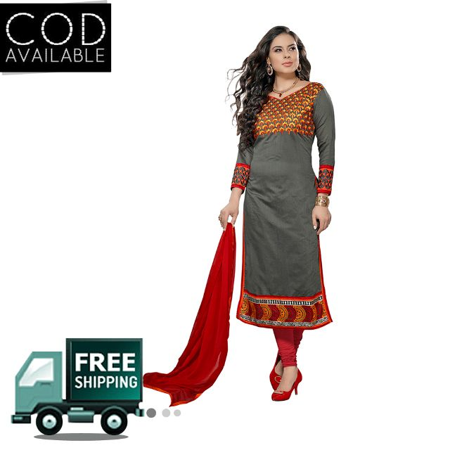 Sancom Grey Color Chanderi Dress Material