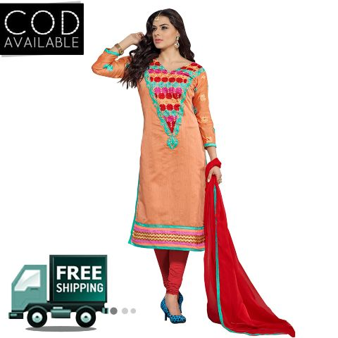 Sancom Peach Color Chanderi Dress Material