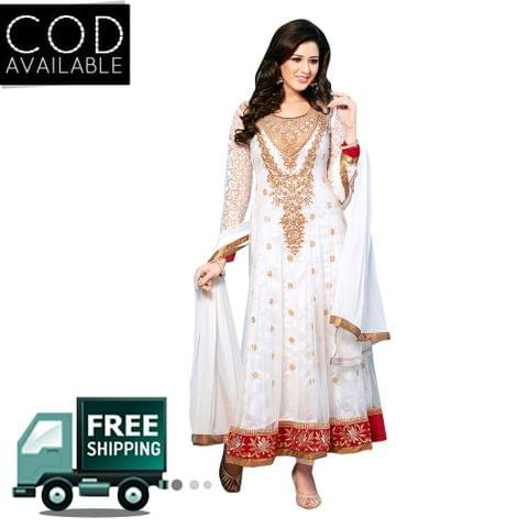 Sancom White Color Net Anarkali Salwar Kameez