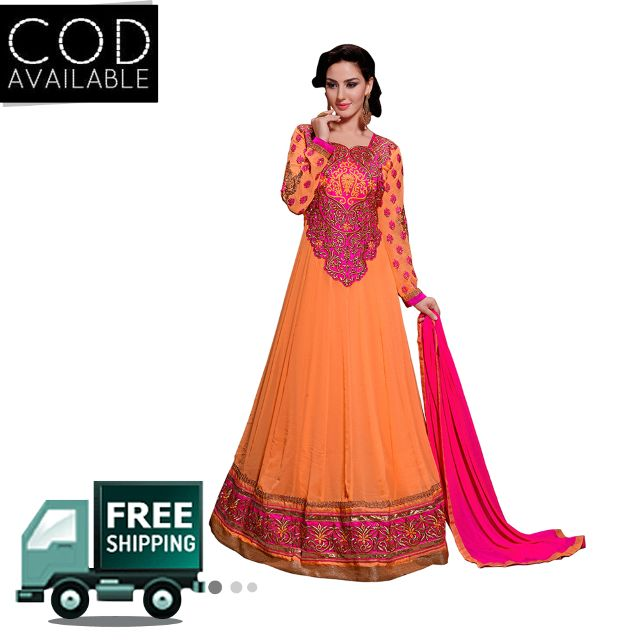 Sancom Orange Color Georgette Anarkali Salwar Kameez