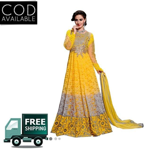 Sancom Yellow Color Brasso/Net Anarkali Salwar Kameez