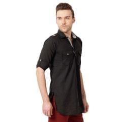 KP Men's Casual Black Pathani Kurta