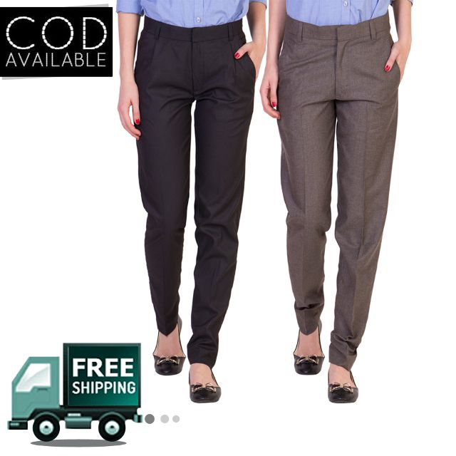 American-Elm Women's Formal Office Trousers-Pack of 2