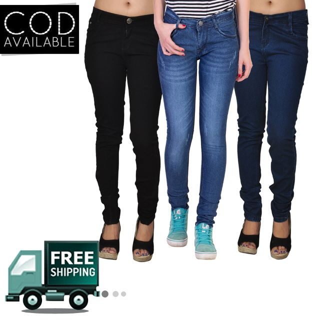 American-Elm Pack of 3 Women's Stretchable Jeans