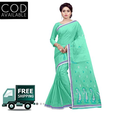Ethnic Basket Sea Green Traditional Wear Cotton Saree
