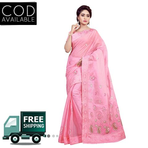 Ethnic Basket Pink Traditional Wear Cotton Saree