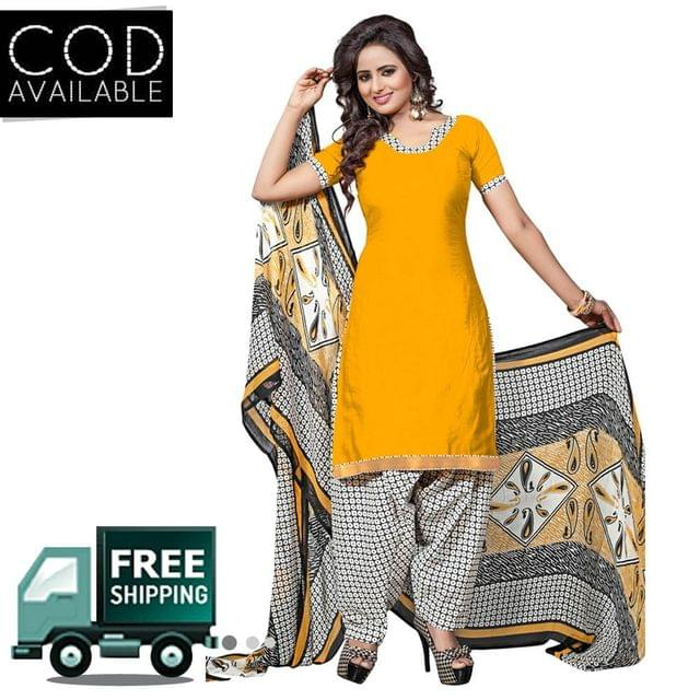 Ethnic Basket Yellow Glace Cotton Printed Dress Material
